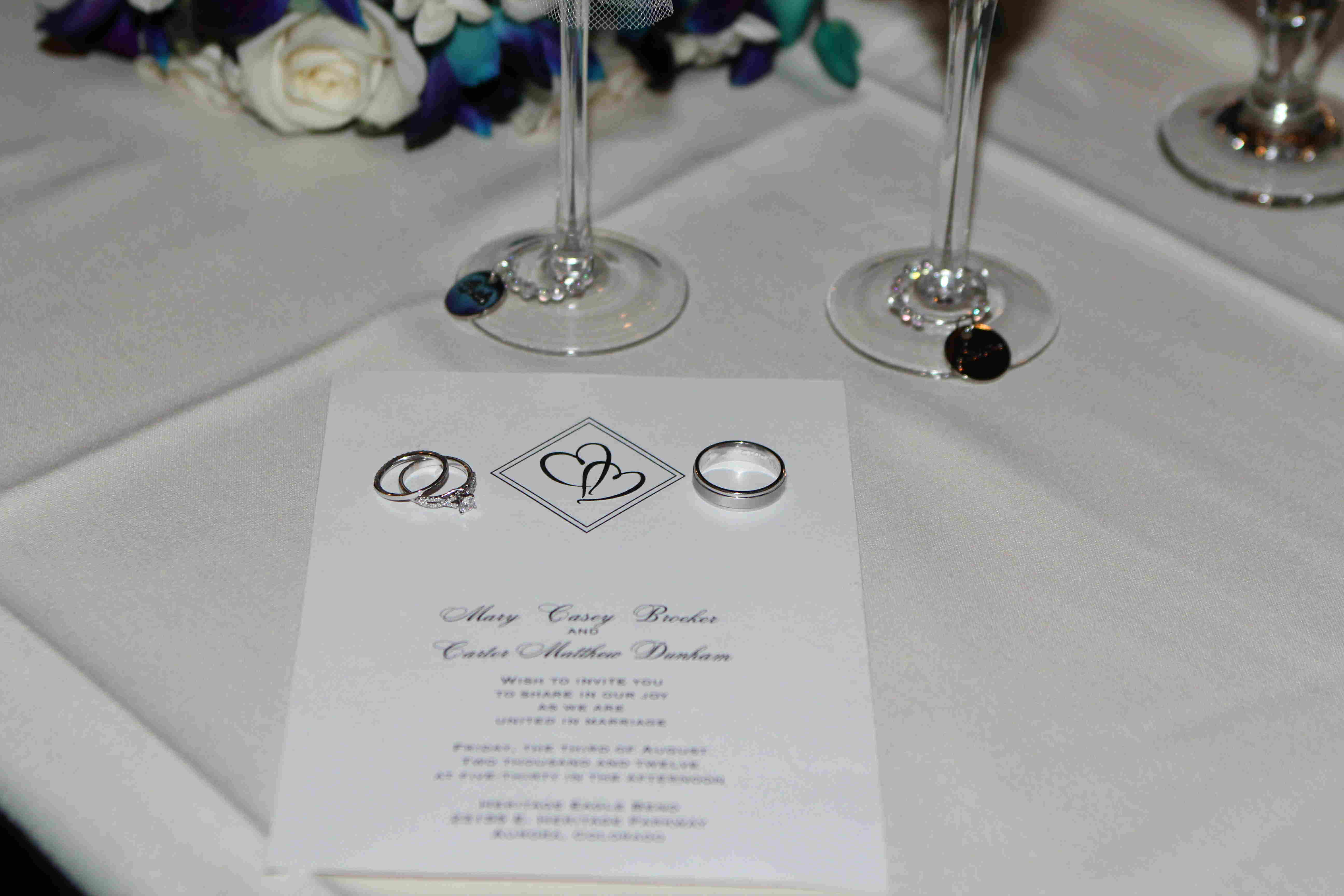 Invitation and rings - no detail missed